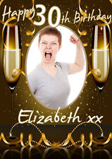 Happy Birthday Party Poster Banner Personalised Picture & Name Any Age (TP169)