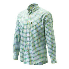 Beretta Classic Shirt - White Green & Yellow Check Long Sleeved LU321