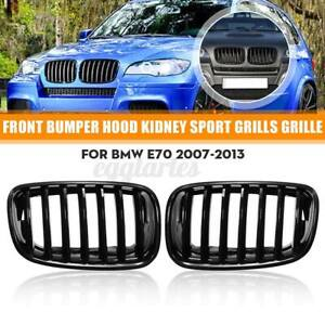 Pair Gloss Black Front Kidney Grille Grill For BMW X5 X6 E70 E71 2007-2013