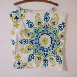Pottery Barn Embroidered Paisley Mandala Pillow Cover Sham White Green Yellow