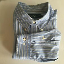 Ralph Lauren Mens 17 1/2 34/35 Blue Striped Long Sleeve Dress Shirt
