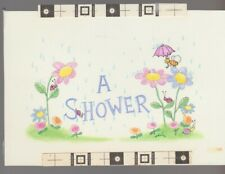 "A Shower Bee Lady Bugs & Snail w/ Flowers 6.5x4.5"" Greeting Card Art #610"