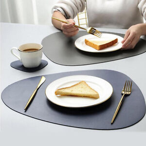Faux Leather Placemats Heat-Resistant Coasters Table Mat Coffee Mats Cushion YG