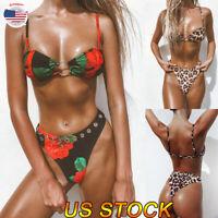 Women Swimwear Leopard/Rose Print Bikini Set Padded Bra Bathing Suit Swimsuit US