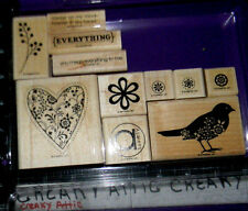 STAMPIN UP ALWAYS 11 RUBBER STAMPS HEART BIRD FLOWERS