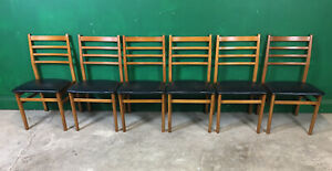 Set Of 6 Retro Dining Chairs Vinyl Seat. Courier Available