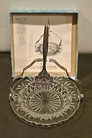 VTG THREE PIECE  SEA FOOD SERVING SET GLASS & STAINLESS STEEL MADE IN ENGLAND