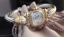 "David YURMAN 925 Silver 750 GOLD Case Diamond Bezel Cable Bracelet Watch 6 """
