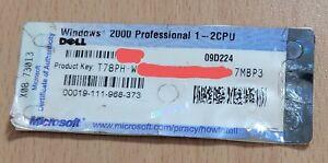 Microsoft Windows 2000 Professional 1-2 CPU COA Product Key Only