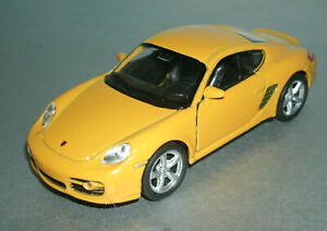 1/38 Scale 2007 Porsche Caymen S Diecast Model 987 Coupe - Welly 42374 Yellow