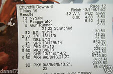 "Official 2016 Kentucky Derby Results ticket "" NYQUIST """