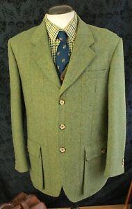 Good Mens Hucklecote Norfolk Reed Green Tweed Jacket Size 42 to 44 Large