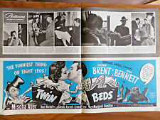 1942 Movie Ad George Brent Joan Bennett Mischa Auer in Twin Beds