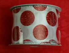 """DARICE HOLIDAY RIBBON WHITE W/RED GLITTER DOTS - WIRED - 2.5"""" X 25' CHRISTMAS #2"""