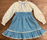 Vintage Demi Lass Girl Dress Blue Stripes Sz 2-3T