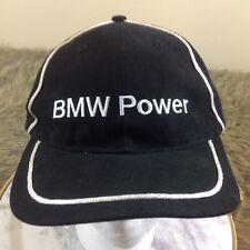 BMW Power Black Adjustable Baseball Cap White Pinstripe Breathable Hat