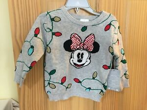 New Disney Store Minnie Mouse Holiday Christmas Sweater Girl Toddler 18-24M