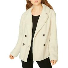 Sanctuary Womens Free Spirit Ivory Winter Faux Fur Coat Outerwear M BHFO 7267