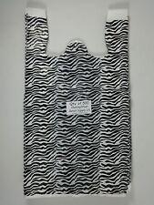500 Qty Zebra Print Design Plastic T Shirt Retail Shopping Bags With Handles Lg