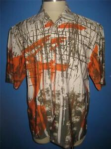 Vtg Raider Abstract Olive Green Orange Polyester Hawaiian Camp Shirt M Mint
