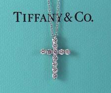 $2,900 Tiffany Platinum 0.42ct Round Diamond Cross Pendant 16'' Chain Necklace