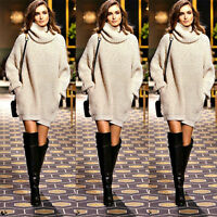 Women's Cowl Neck Long Sleeve Pullover Sweater Chunky Knit Warmer Jumper Tops