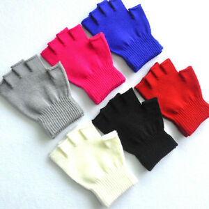 Kids Baby Cute Solid Color Winter Soft Plush Half Finger Warm Gloves SA