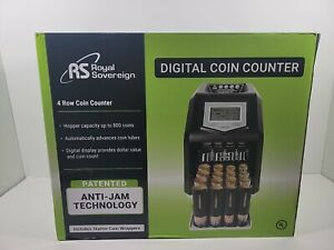 NEW Royal Sovereign Digital 4 Row Electric Coin Sorter, Holds Up To 800 Coins