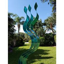 Large Abstract Metal Garden Sculpture - Indoor/Outdoor Art - Aqua Transitions
