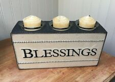 Blessings Wood Sugar Mold Triple Candle Holder