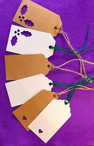 10/25/50/100 Kraft Paper Gift Tags Scallop Label Wedding Blank + Strings UK