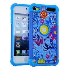 iPod Touch 5th 6th Gen HARD&SOFT HYBRID DIAMOND BLING CASE BLUE FLOWER BUTTERFLY