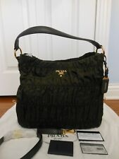 NWT Prada $1295 Tessuto Gaufre Ruched Nylon Hobo Crossbody Shoulder Bag, Olive