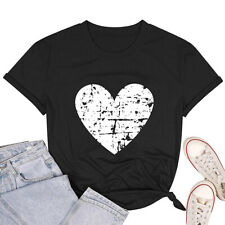 Womens Love Heart T-Shirts Casual Short Sleeve Valentine's Day Graphic Tees Tops