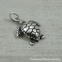 925 Sterling Silver Sea Turtle Charm - Ocean Beach Nautical Pendant NEW