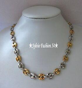 Collier chaîne bijou homme grain de café Acier inoxydable argenté doré or 1 cm