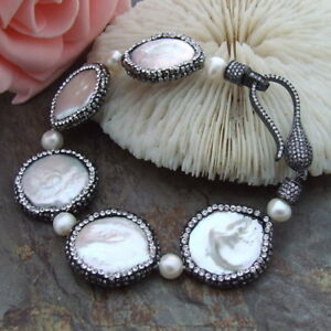 natural White Coin freshwater Pearl trimmed with black macarsite Bracelet