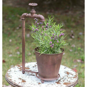 Water Spigot Tabletop Planter with Rusty Finish