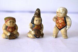 "Antique German Bisque Porcelain Figurine Baby Doll House Painted 3 Pc Lot Rare""3"