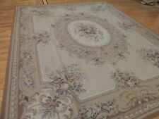 LOVELY  8x10 French Aubusson Needlepoint area rug wool Beige Brown Purple Gray