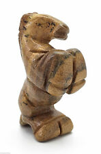 Rearing Horse Picture Jasper Hand Carved Gemstone Animal Totem Statue Stone