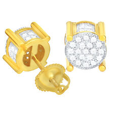 Men's Iced Gold Plated CZ Micro Pave 6 mm 3D Round Screw Back Earrings BE 023 TT