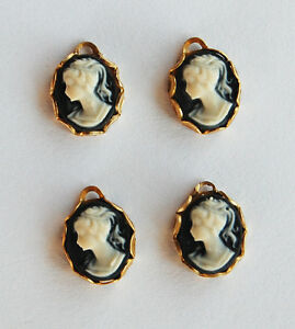 VINTAGE 4 SMALL CAMEO PENDANT BEAD BEADS BLACK & WHITE RESIN • 10x8mm
