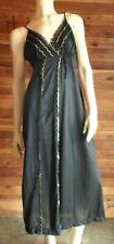 Vintage Spotlight Size Small Black with Gold Trim Nightgown #6473