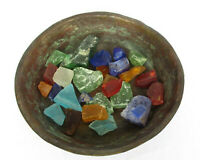 Islamic Copper Bowl from the 19th C. with Multi-color Antique Glass Remains