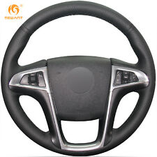 Black Genuine Leather Steering Wheel Cover for Buick Lacrosse Chevrolet Equinox