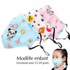 Lot de 2 M@sque filtre couvre bouche lav@ble chirurgic@l enfant 3-12 ans