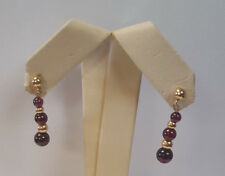 Gorgeous 10KT Yellow Gold Ball Drop Dangle Earrings W/ Deep Purple stones