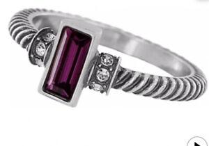 Brighton MODERNA Amethyst Stackable RING 💍 SIZE 6 Silver Swarovski crystal NWT