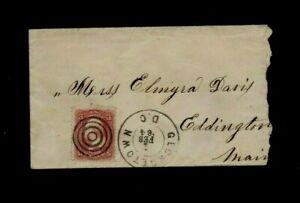 PATRIOTIC COVER. 1864. 3c RED 'WASHINGTON' STAMP. 'GEORGETOWN D.C' TO EDDINGTON.